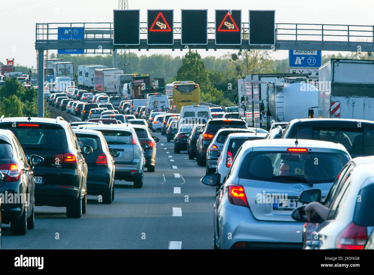 Traffic jam on the A2 motorway Stock Photo