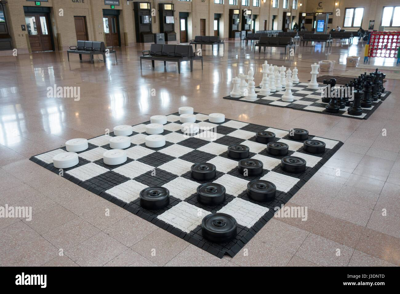 Giant checkers and chess games at Union Depot Station in St. Paul, Minnesota, USA. Stock Photo