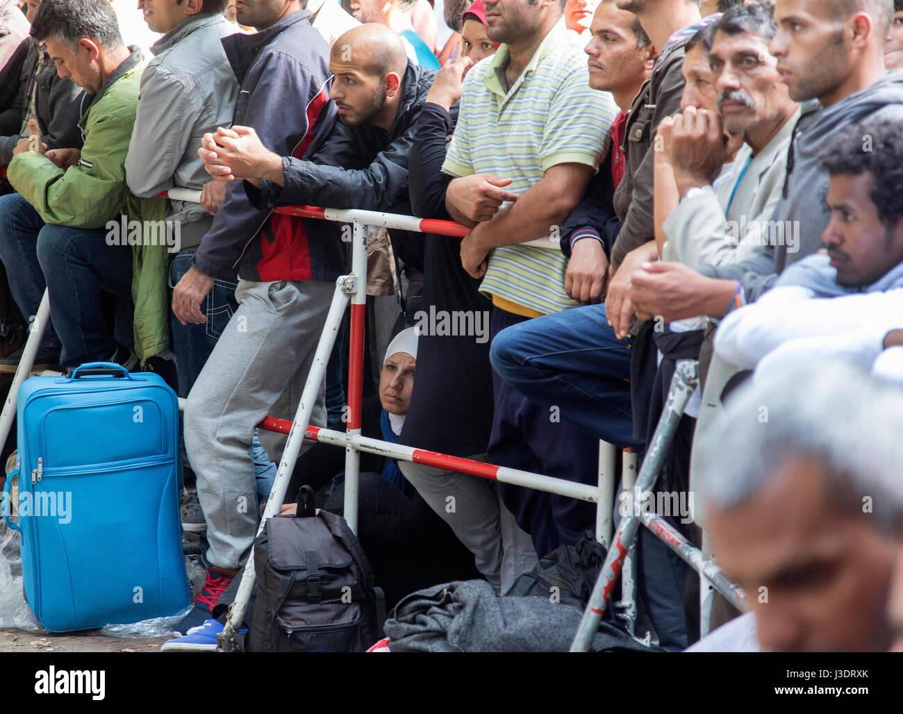 Asylum seeking refugees in Berlin, 2015 Stock Photo