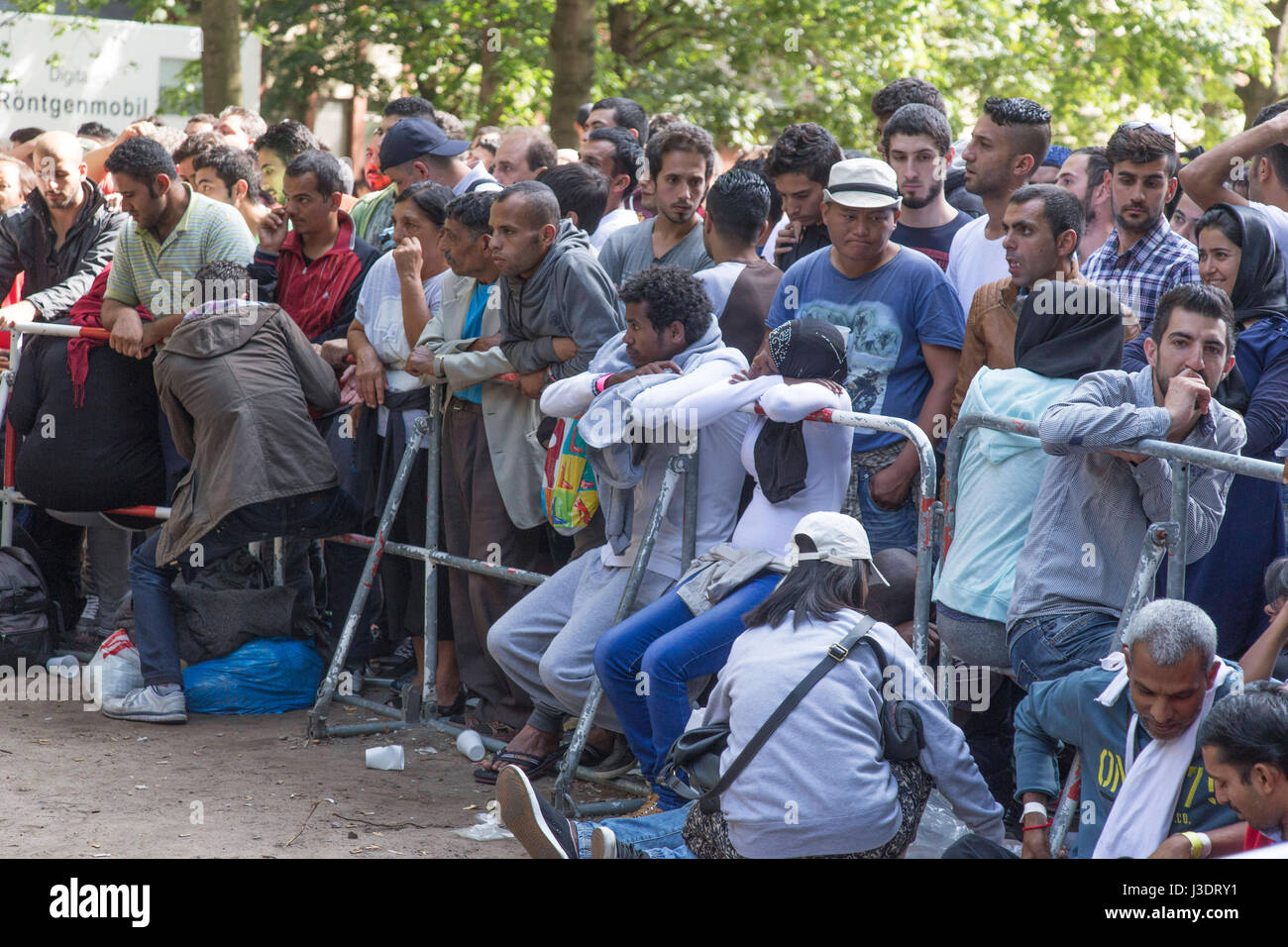 Asylum seeking refugees in Berlin, 2015 Stock Photo