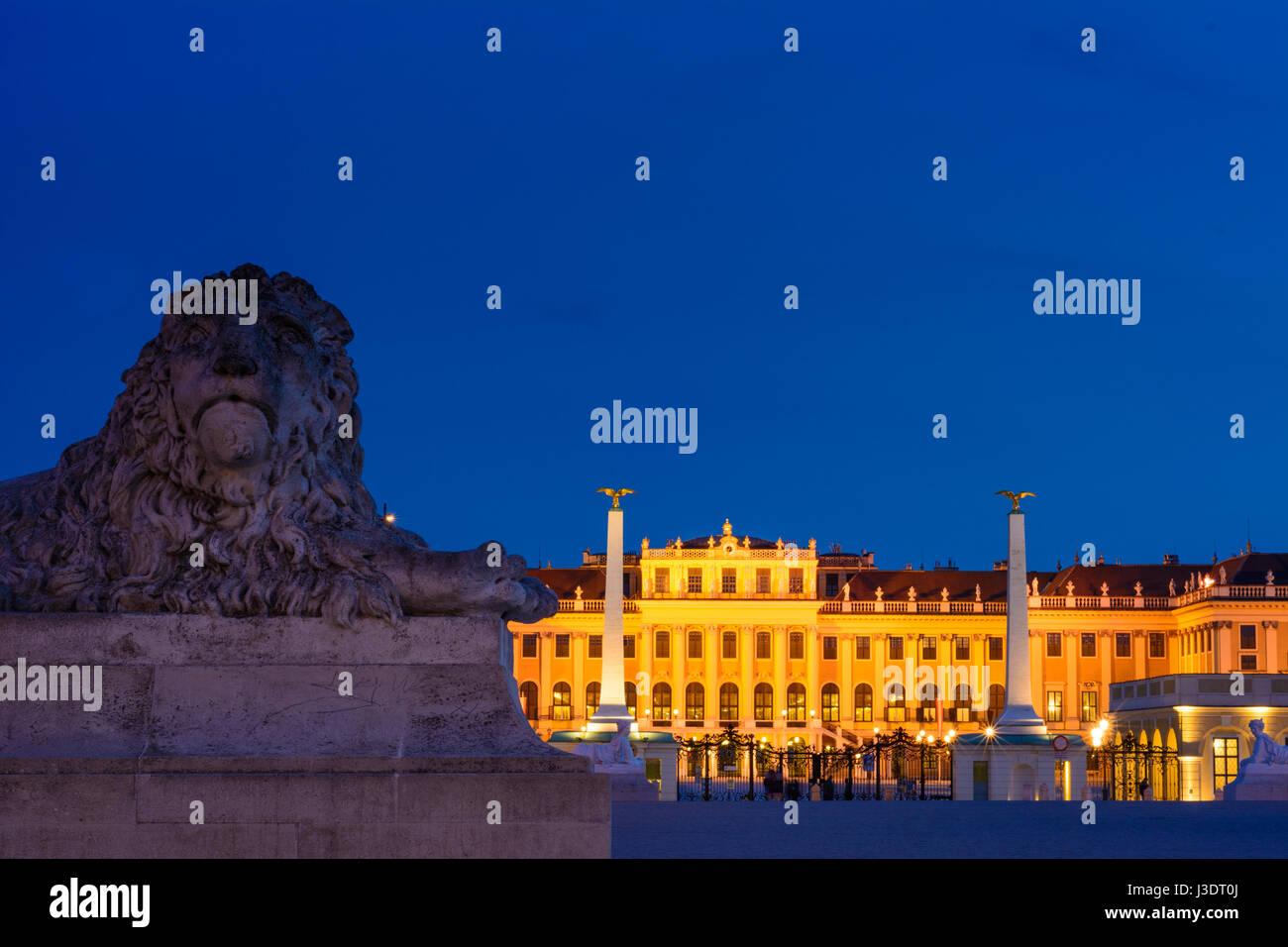 castle Schönbrunn Palace Schloss from outside main entrance, stone lion, Wien, Vienna, 13. Hietzing, Wien, - Stock Image