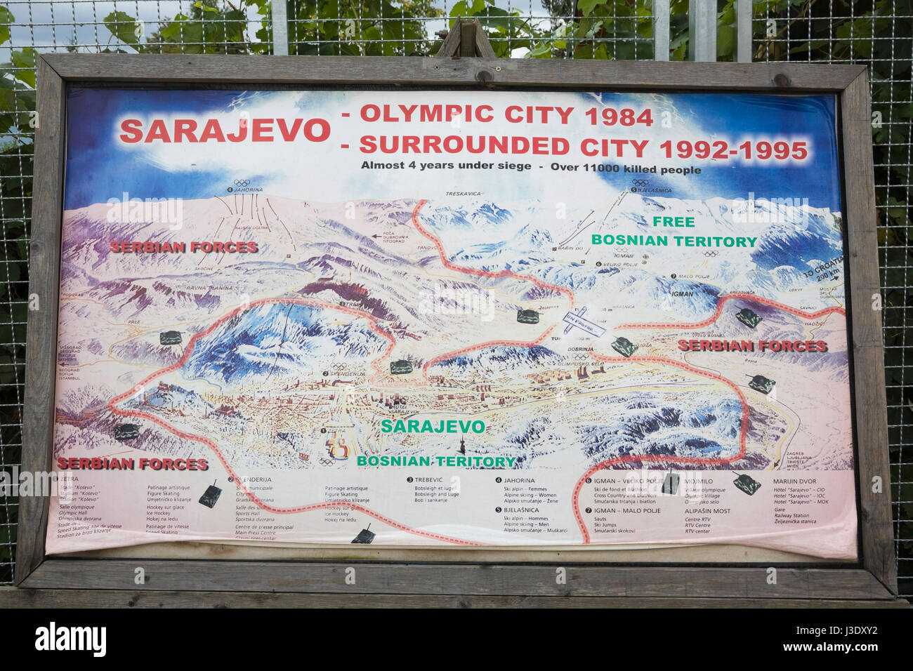 Map of Sarajevo at the war tunnel museum showing how city was surrounded by Serbian forces in the war of 1992-1995. Stock Photo