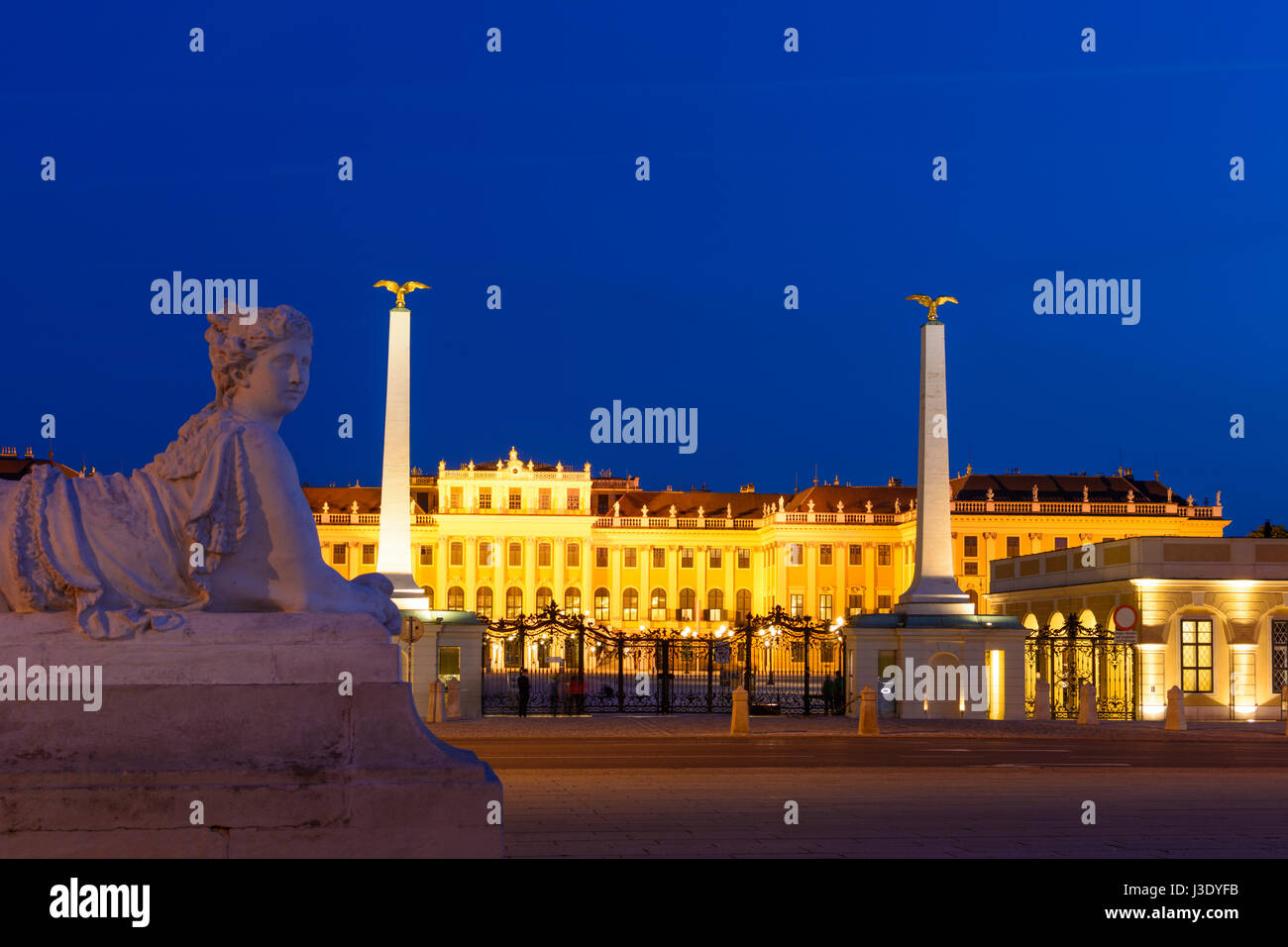 castle Schönbrunn Palace Schloss from outside main entrance, sphinx, Wien, Vienna, 13. Hietzing, Wien, Austria - Stock Image