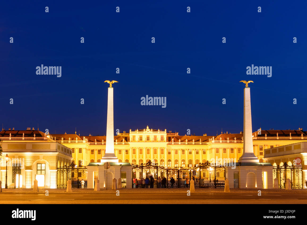 castle Schönbrunn Palace Schloss from outside main entrance, Wien, Vienna, 13. Hietzing, Wien, Austria - Stock Image