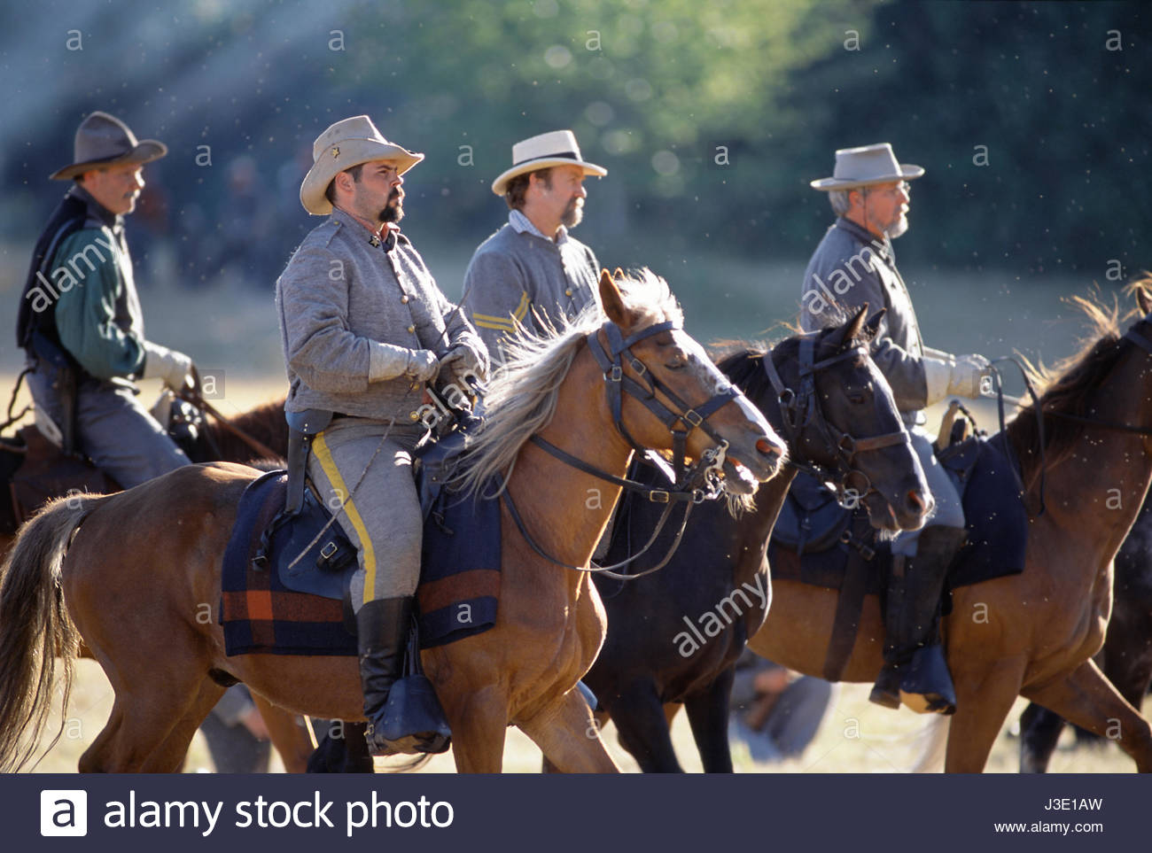 Willamette Mission State Park, Marion County, Oregon, U.S.A. Confederate cavalry troops on horseback. Civil War - Stock Image