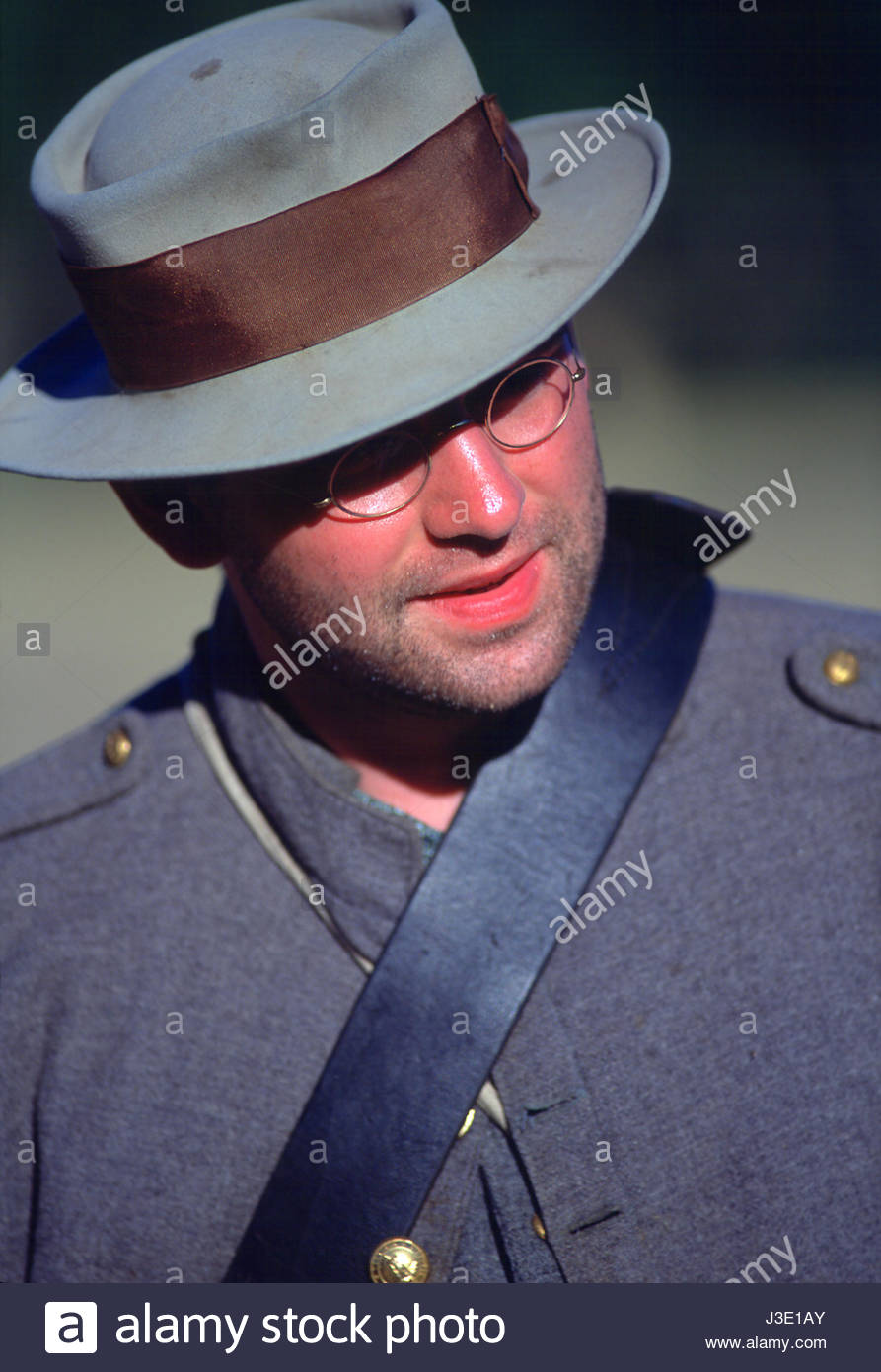 Willamette Mission State Park, Marion County, Oregon, U.S.A. Caucasian male wearing glasses and a felt hat. Civil - Stock Image