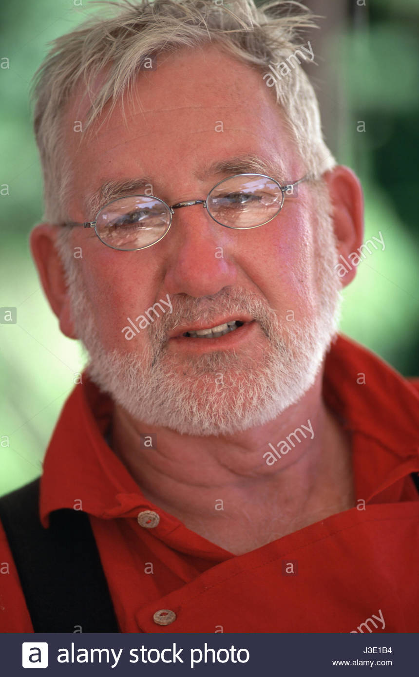 Willamette Mission State Park, Marion County, Oregon, U.S.A. Caucasian male with gray hair and beard wearing glasses - Stock Image