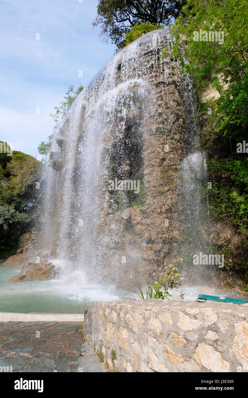 Nice, Provence-Alpes-Côte d'Azur, France. Large waterfall fountain in the La Chateau park in the southern French Stock Photo