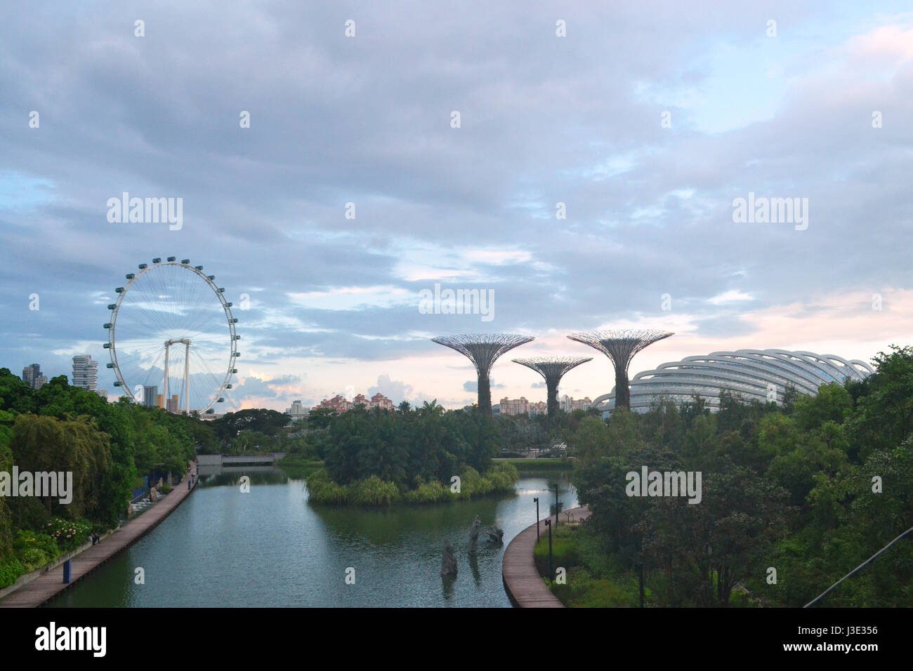 Panoramic day view of Gardens by the bay at sunset, in Singapore. - Stock Image