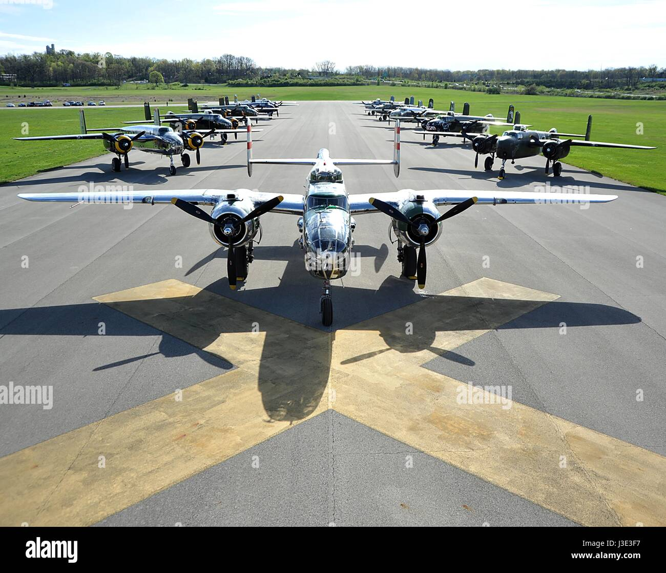 USAF B-25 Mitchell bomber aircraft sit on the runway at the Wright-Patterson Air Force Base National Museum of the - Stock Image