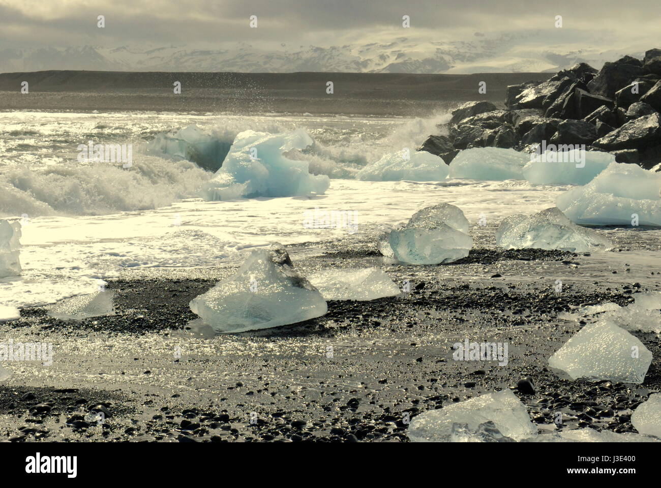 Ice and Icebergs at Jökulsárlón lake, Iceland. Following the ringroad no. 1 around the island. - Stock Image