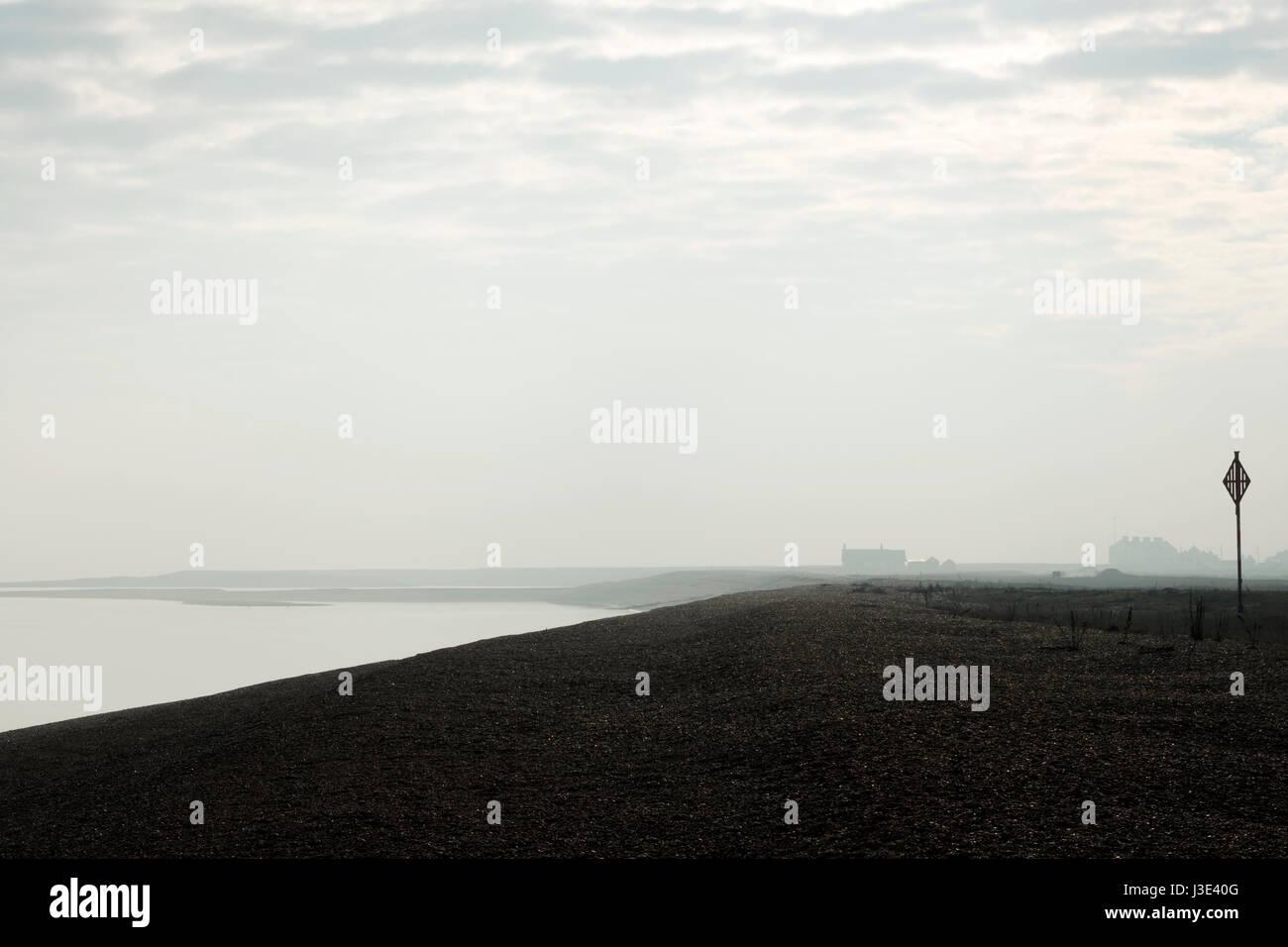 Sea mist, Shingle Street, Suffolk, UK. - Stock Image