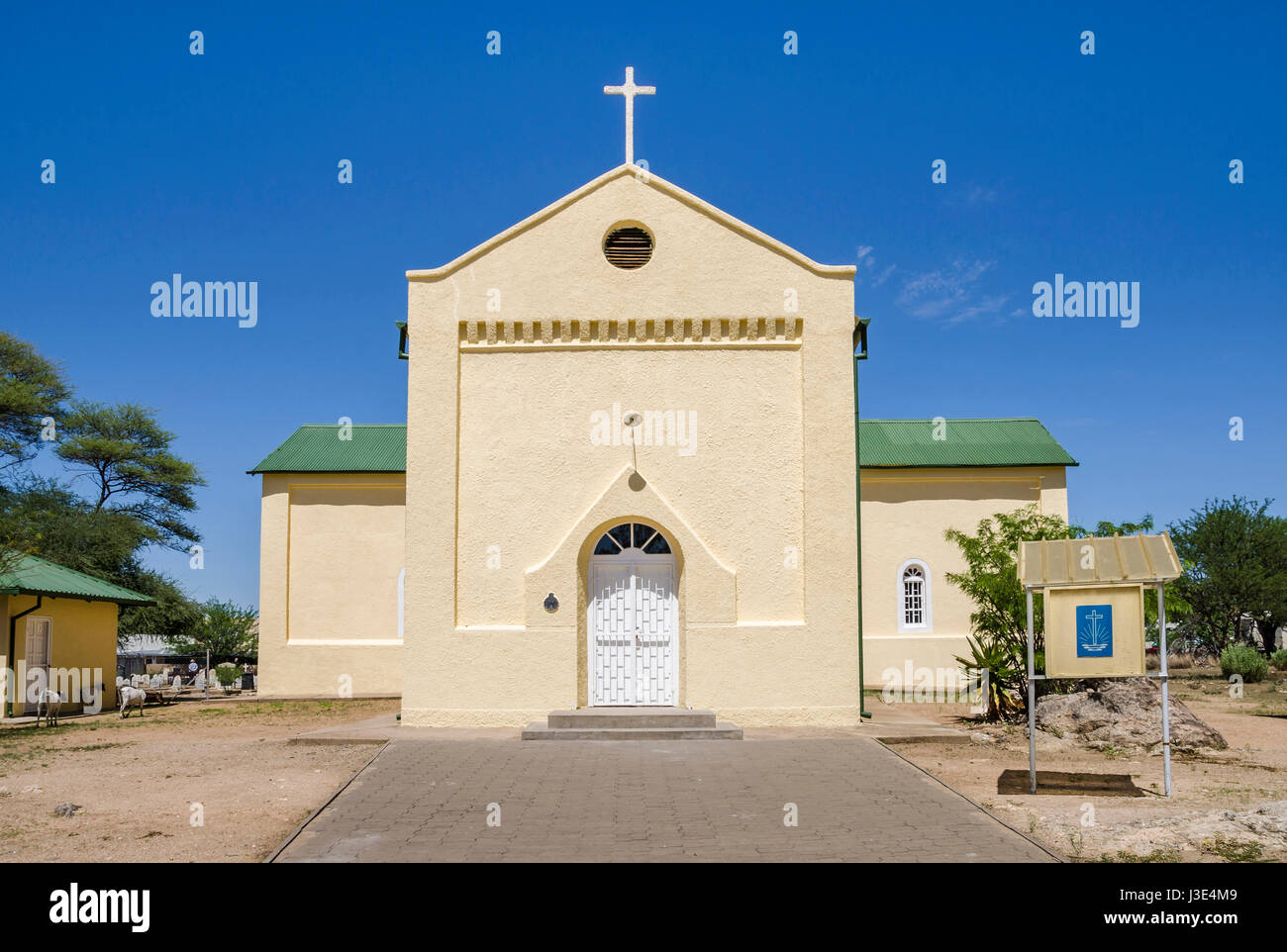 Lutheran Church with War graves cemetery,  build in 1870 (Rhenish Mission Church)  in Okahandja, Namibia. National - Stock Image