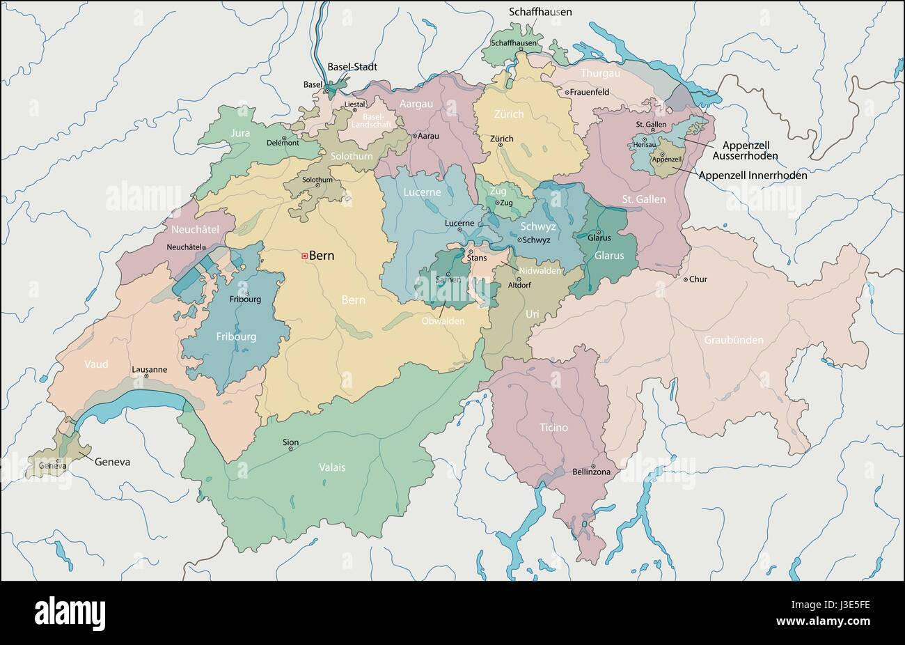 Map of Switzerland - Stock Vector