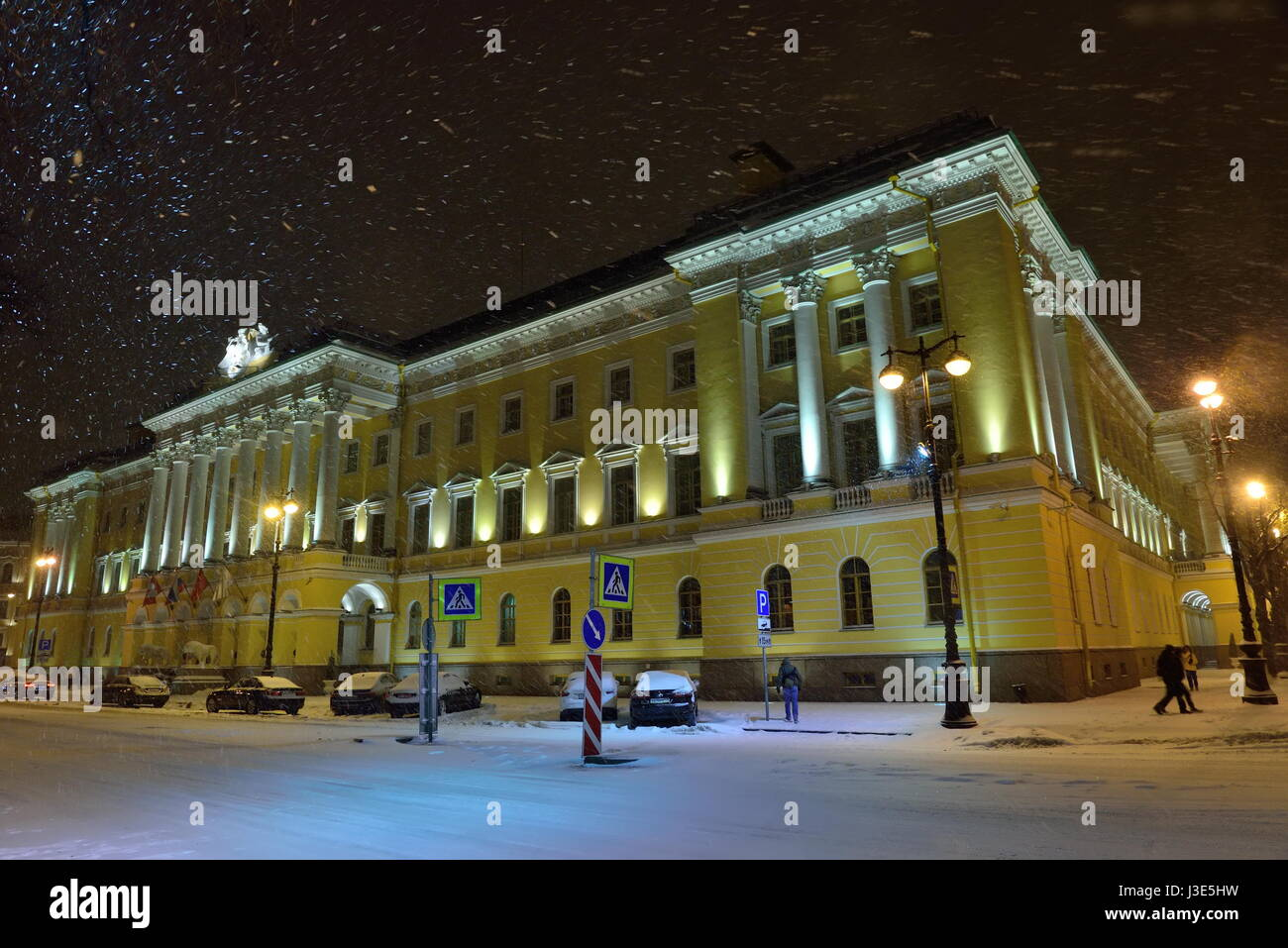 St.PETERSBURG, RUSSIA - NOVEMBER 07 2016 The Four seasons hotel in the snow  night Stock Photo