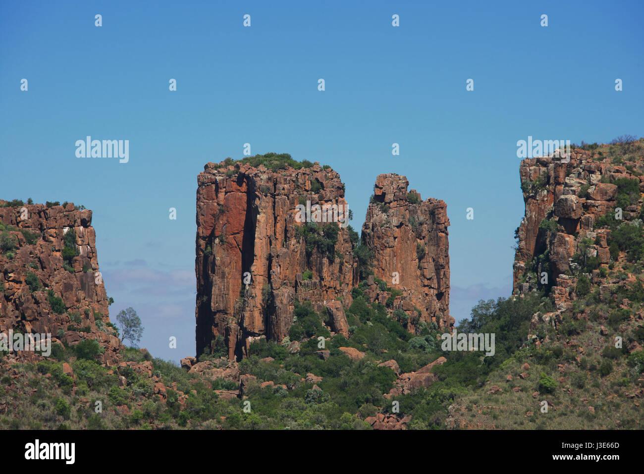 Dolerite columns  Valley of Desolation Graaff Reinet Eastern Cape South Africa - Stock Image