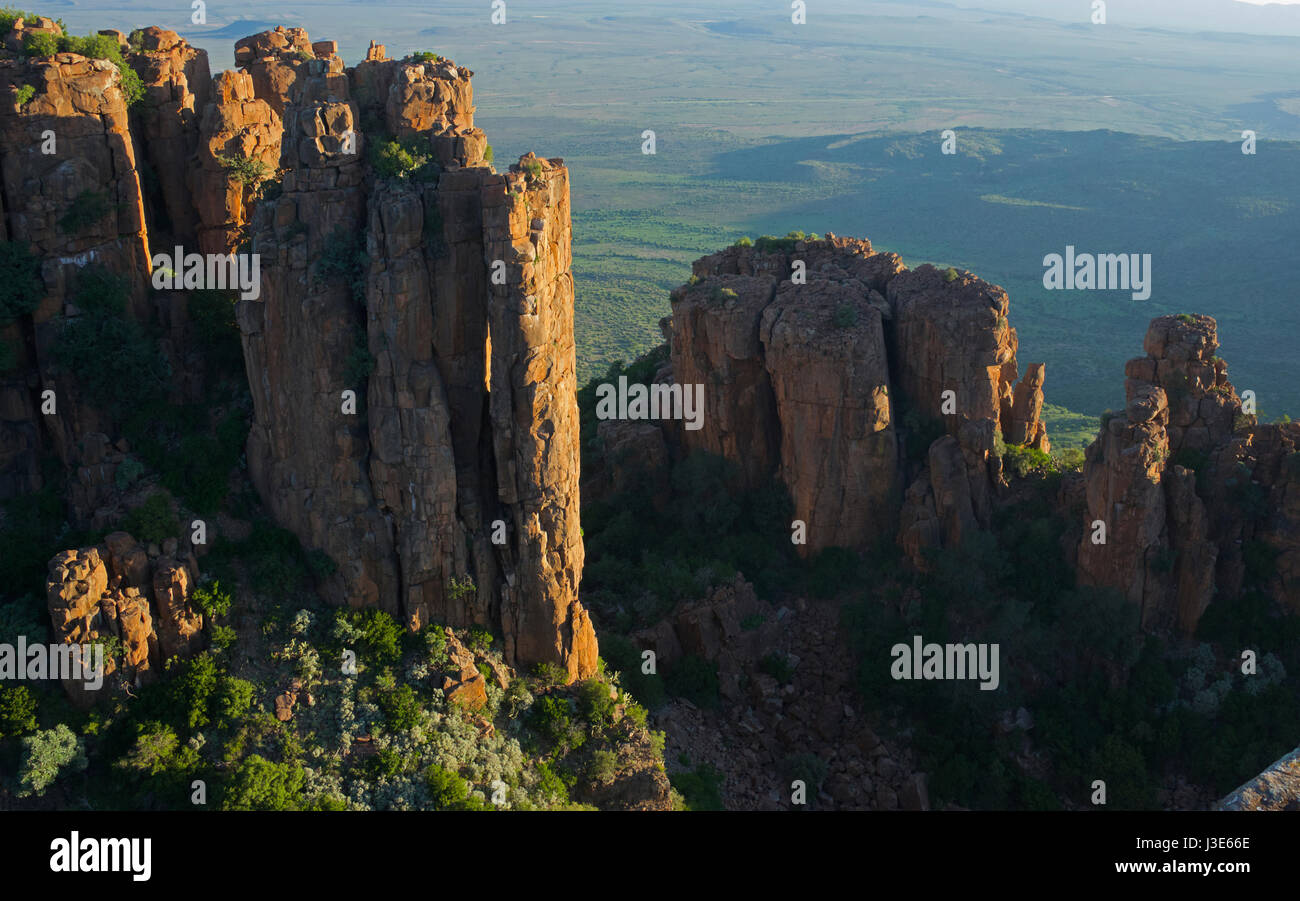 Dolerite columns at sunset Valley of Desolation Graaff Reinet Eastern Cape South Africa - Stock Image