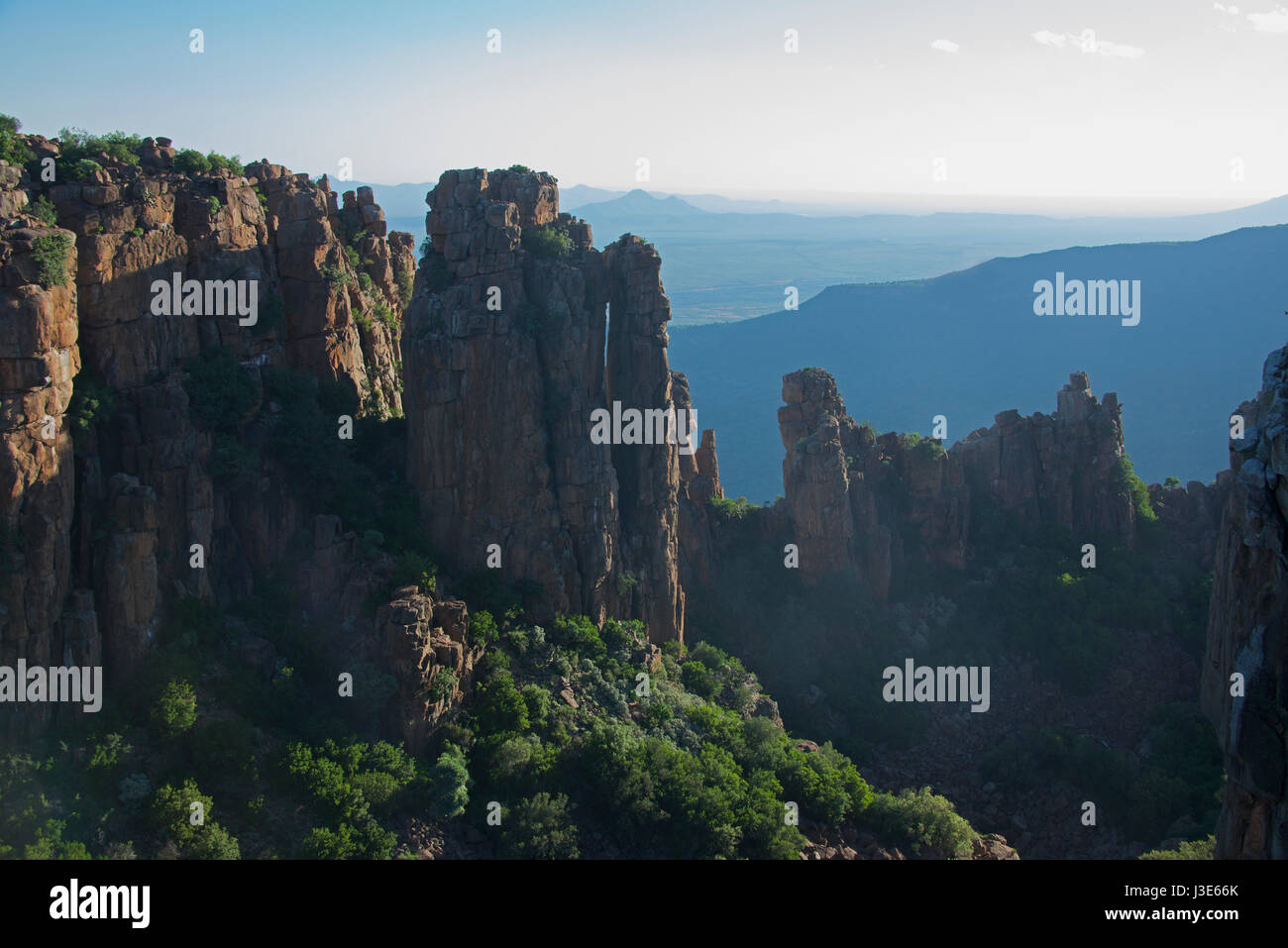 Dolerite columns Valley of Desolation Graaff Reinet Eastern Cape South Africa - Stock Image