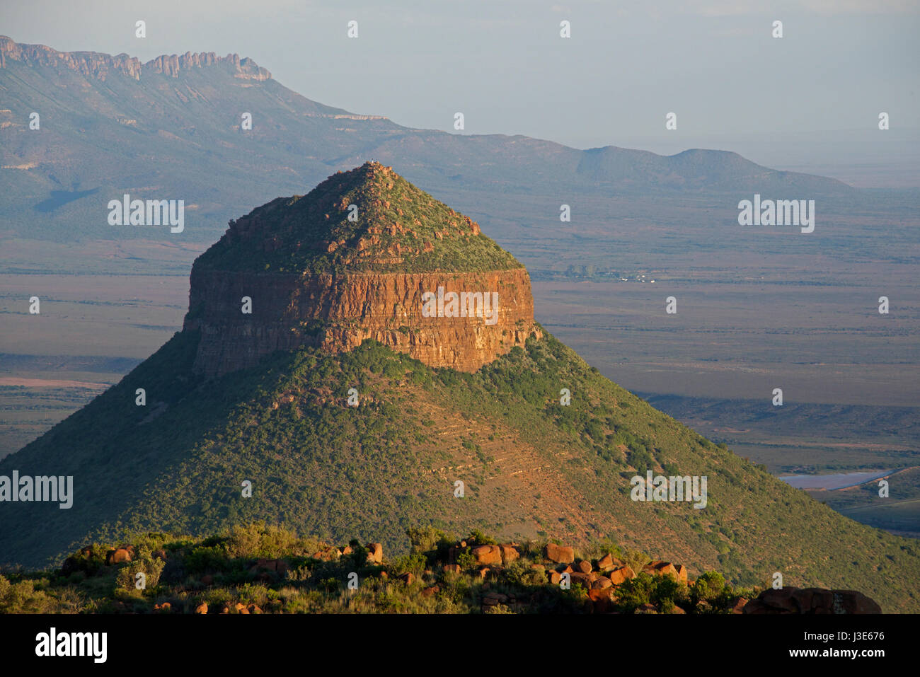 Spandau Kop at sunset Valley of Desolation Graaff Reinet Eastern Cape South Africa - Stock Image