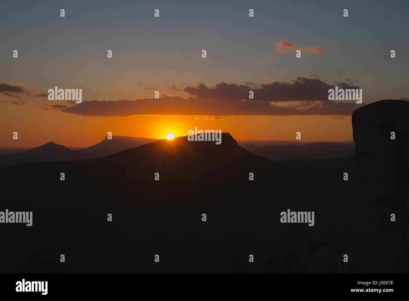 Sunset from Sunset Point Valley of Desolation Graaff Reinet Eastern Cape South Africa - Stock Image