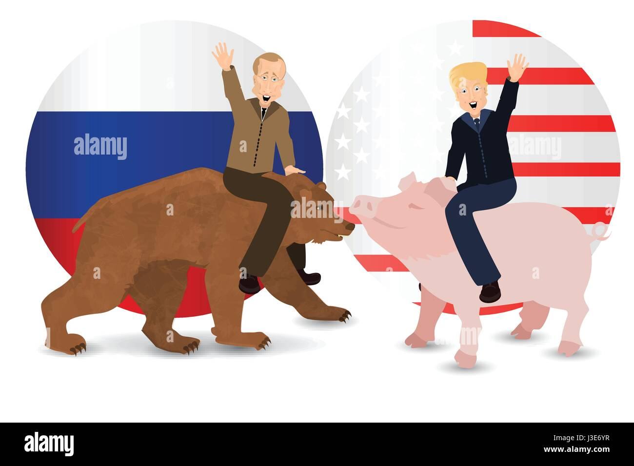 Donald Trump And Vladimir Putin Are Riding A Pig And A Bear Against Stock Vector Image Art Alamy