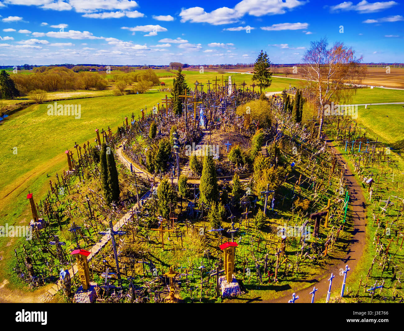 Siauliai region, Lithuania: aerial above view of Hill of Crosses, Kryziu Kalnas. It is a famous religious site of Stock Photo
