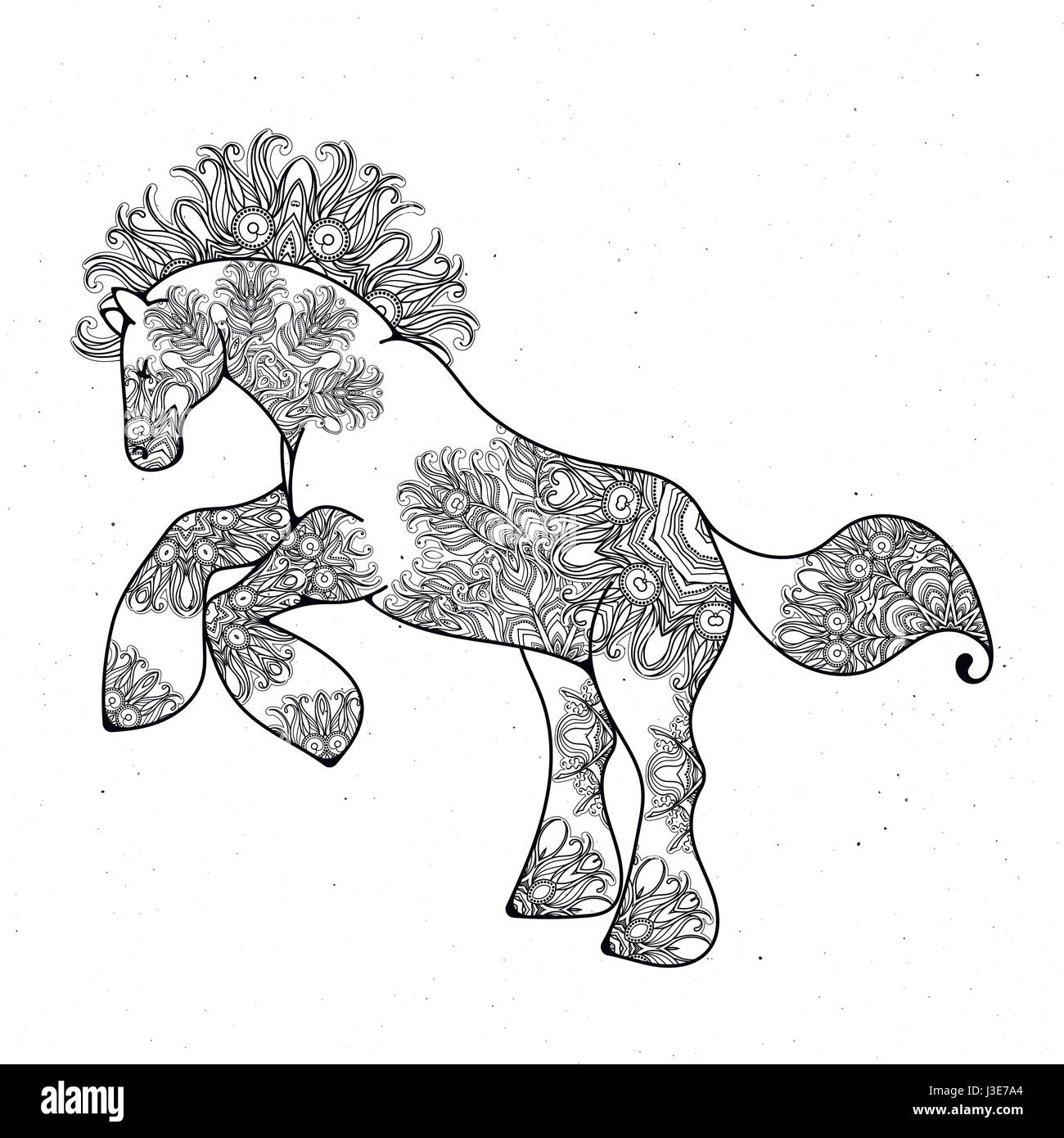 Antistress Linear Page With Horse Zentangle Animal For Colouring Book Greeting Card Mandala Decoration Element Art Therapy