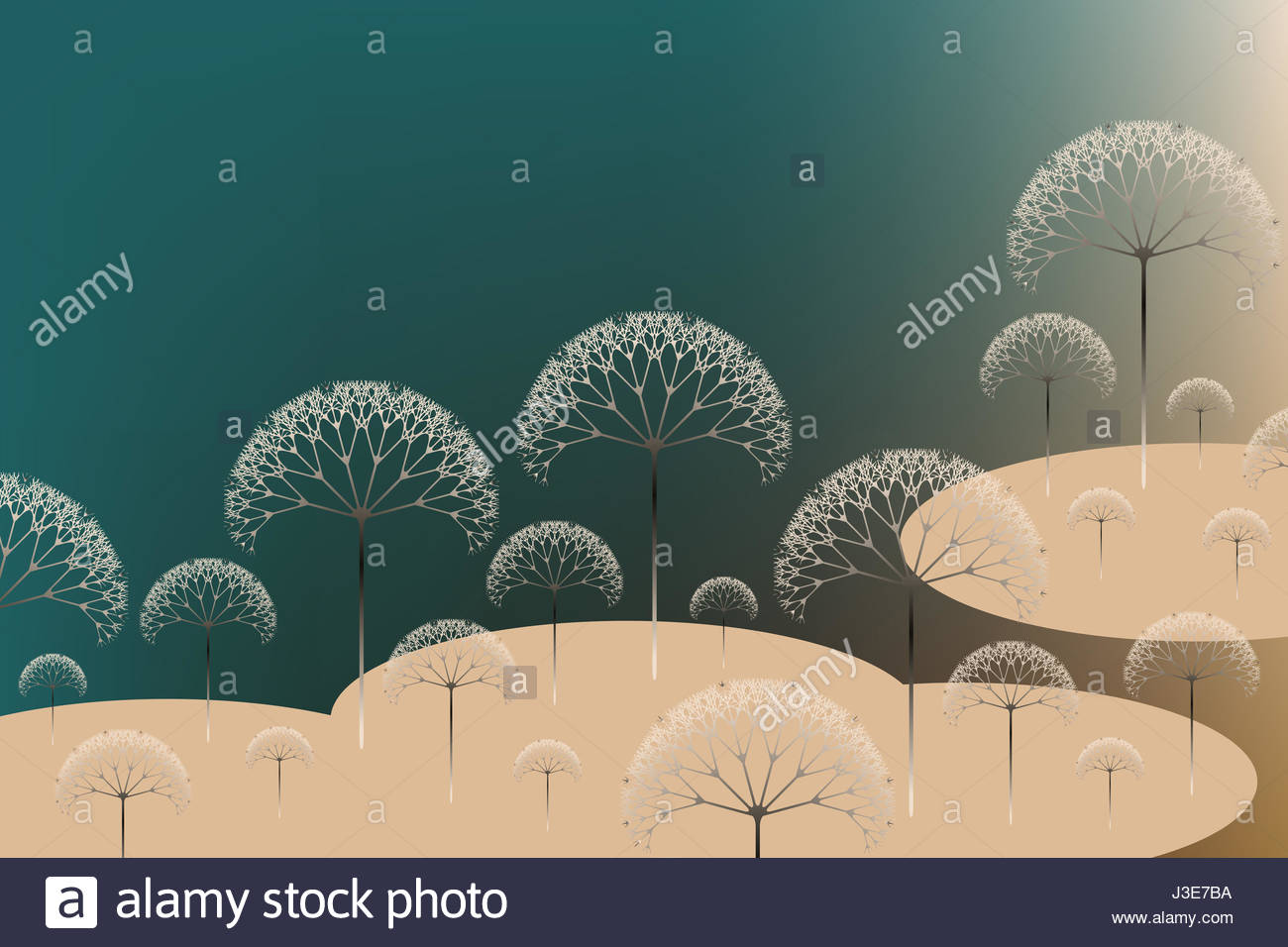 poetic trees landscape in green shades - Stock Image