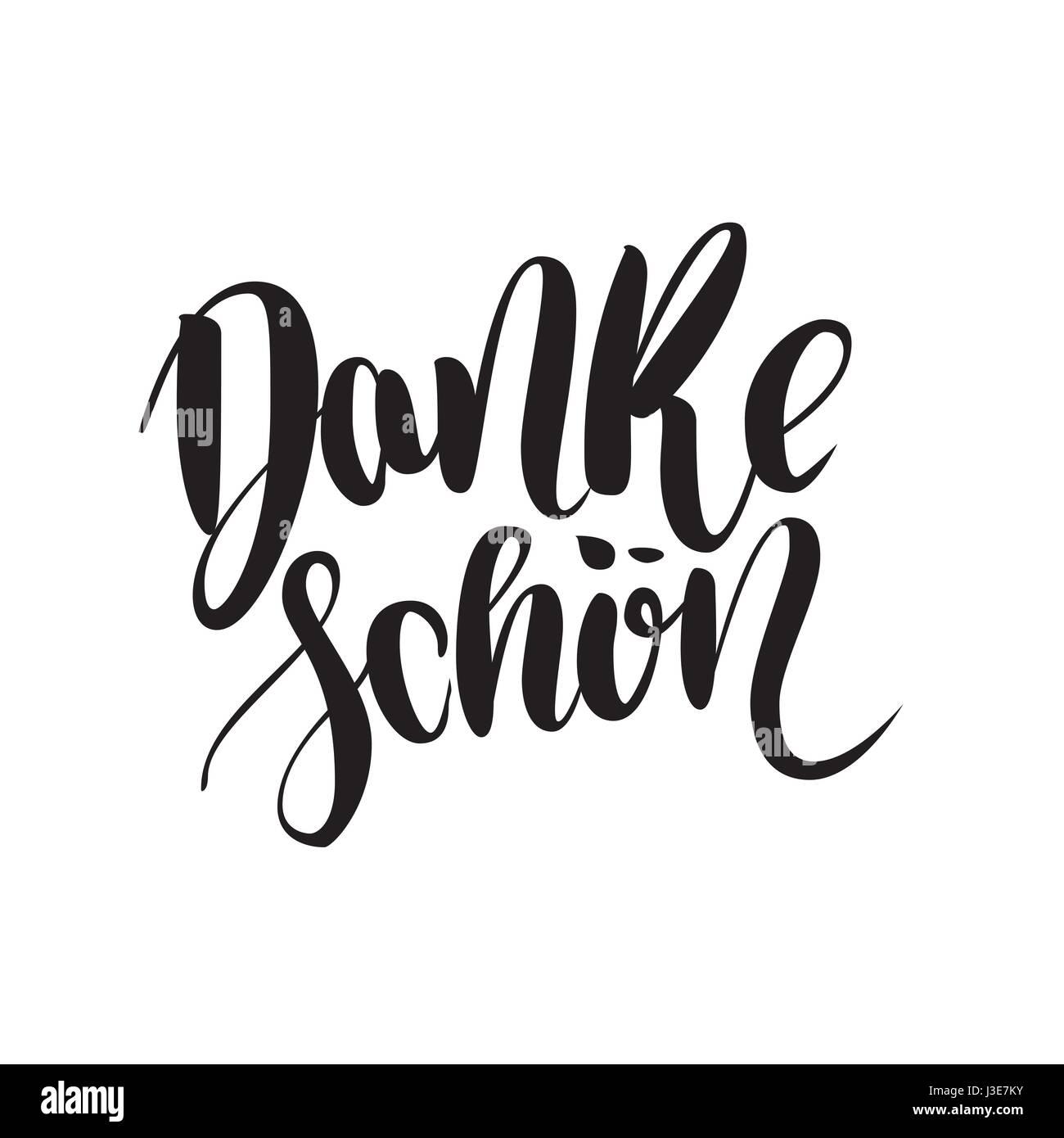 Thank You. Danke Schoen. German Language Balck Vector Lettering isolated on White Background. Hand-written words Stock Vector