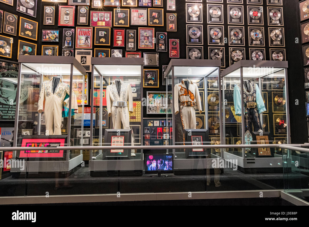 Display of Elvis costumes at Graceland, Memphis - Stock Image