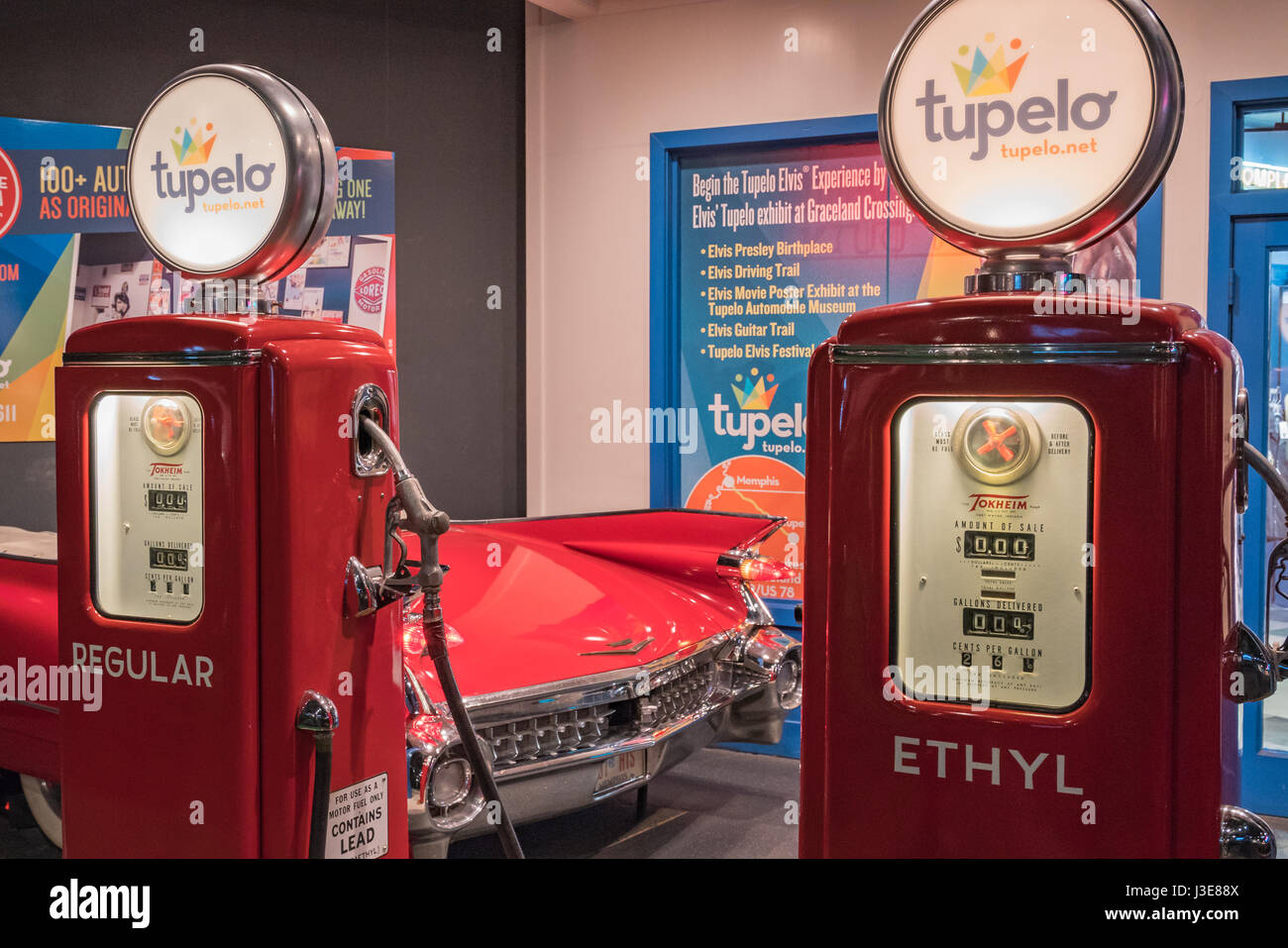 Homage to Tupelo, Mississippi - birthplace of Elvis Presley at the Elvis Presley Car Museum, Graceland, Memphis - Stock Image