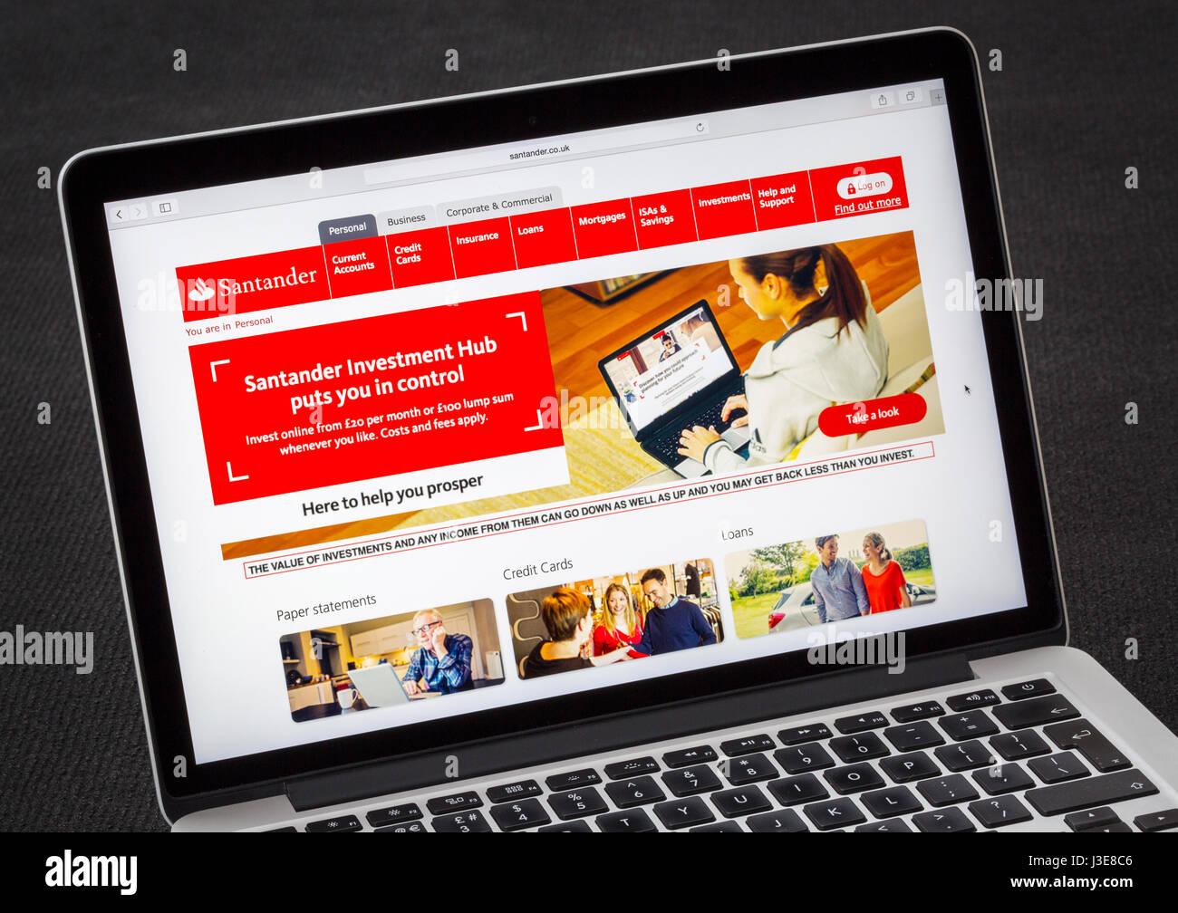 Santander banking website - Stock Image