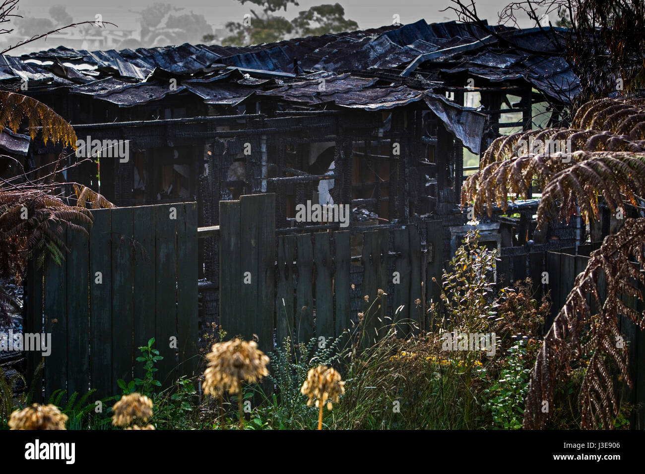 Scene of house fire - Stock Image