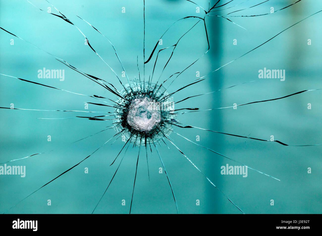 Broken glass window pane - Stock Image