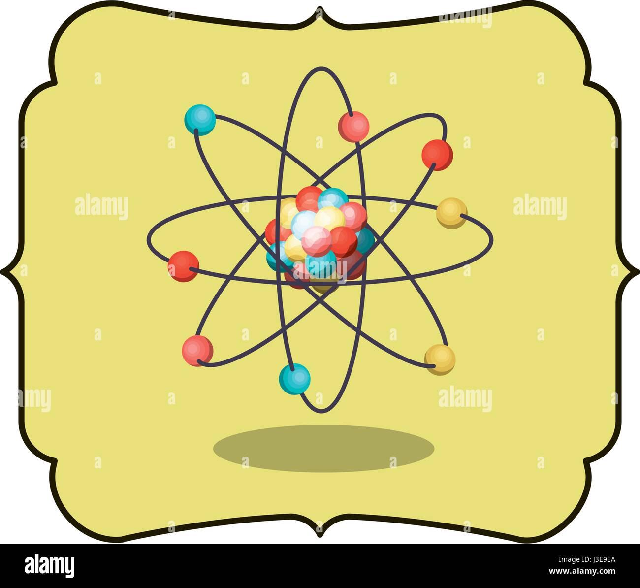 Isolated atom inside frame design - Stock Vector