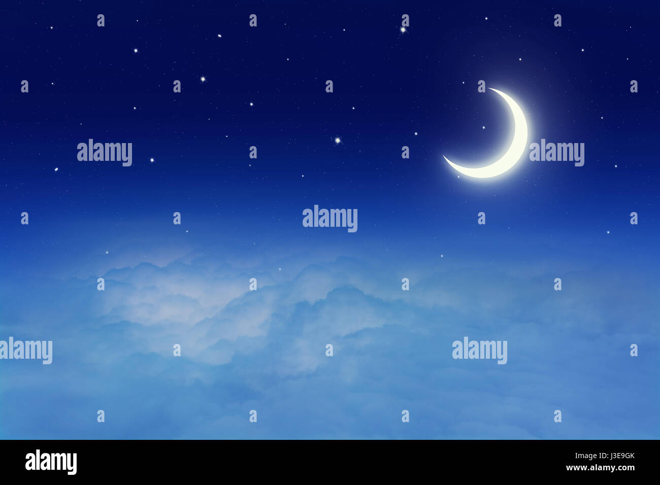 Night sky with stars and moon - Stock Image