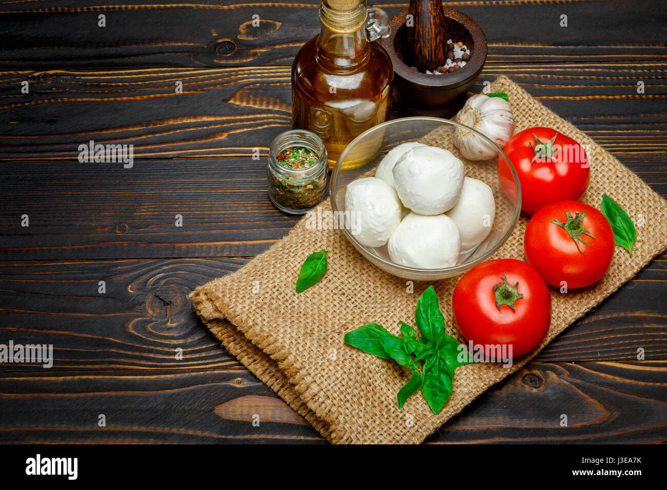 Caprese salad ingridients - Mozzarella and tomato - Stock Image