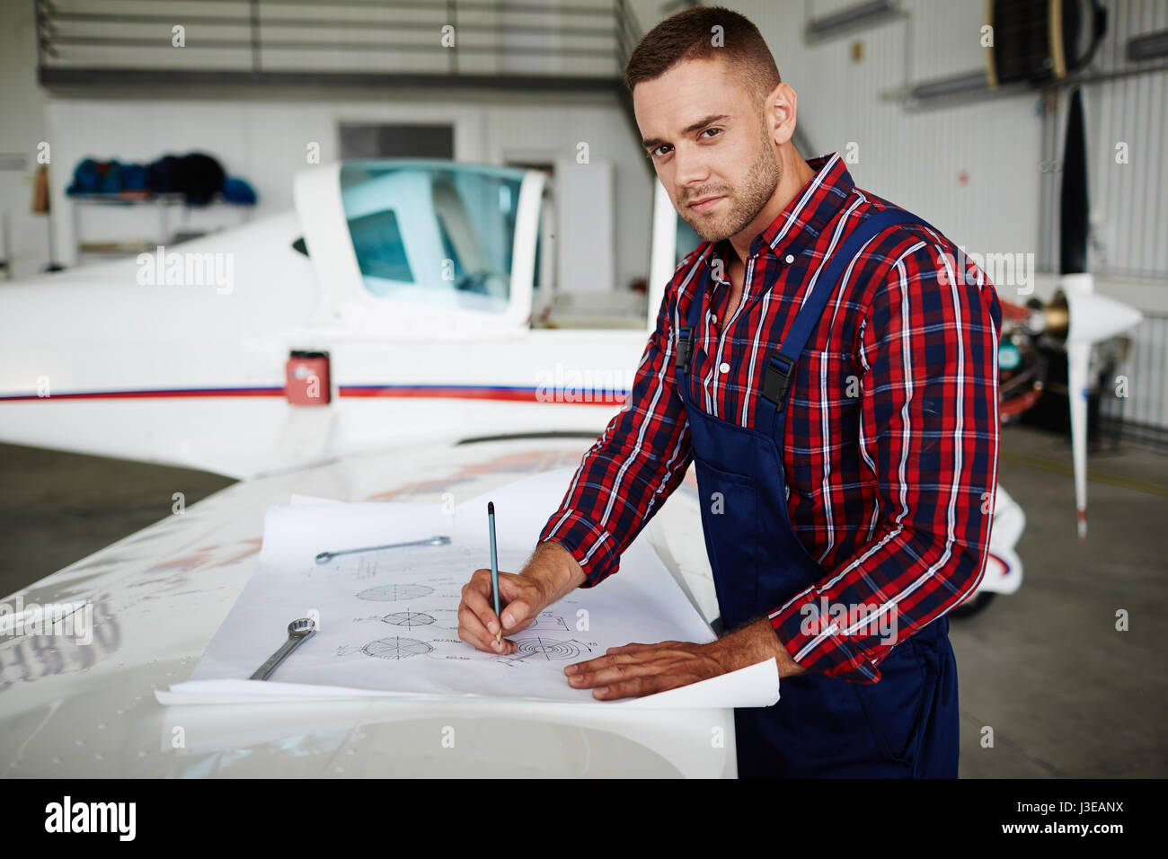 Handsome Jet Mechanic - Stock Image