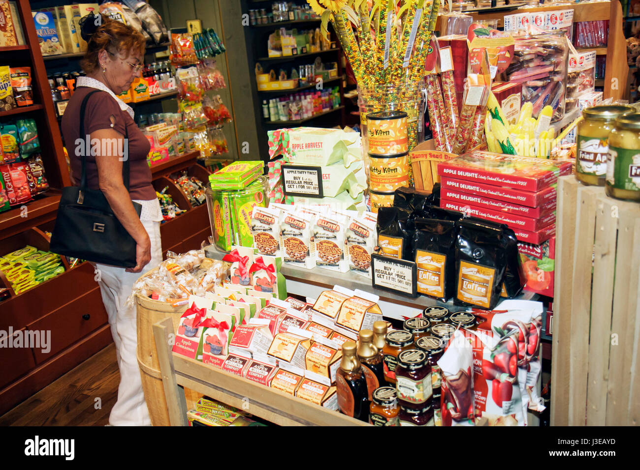 Homestead Florida Cracker Barrel Restaurant and Old Country Store dining woman customer family restaurant chain - Stock Image