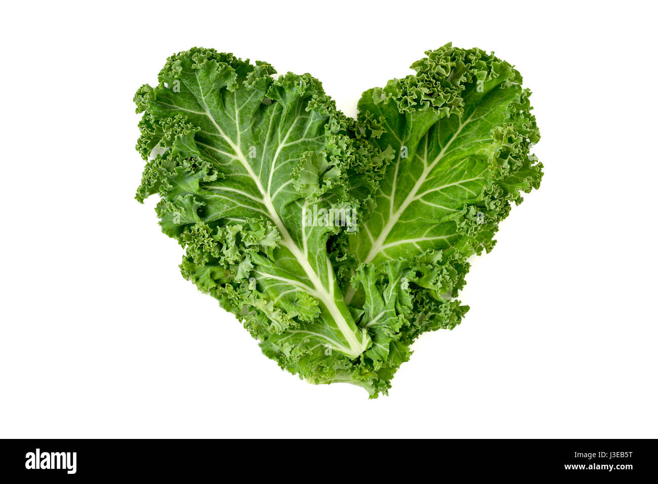 closeup of some leaves of kale forming a heart on a white background - Stock Image