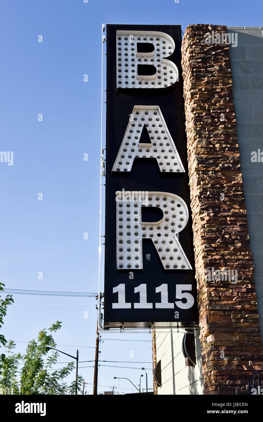 BAR sign in the arts district in downtown Las Vegas - Stock Image