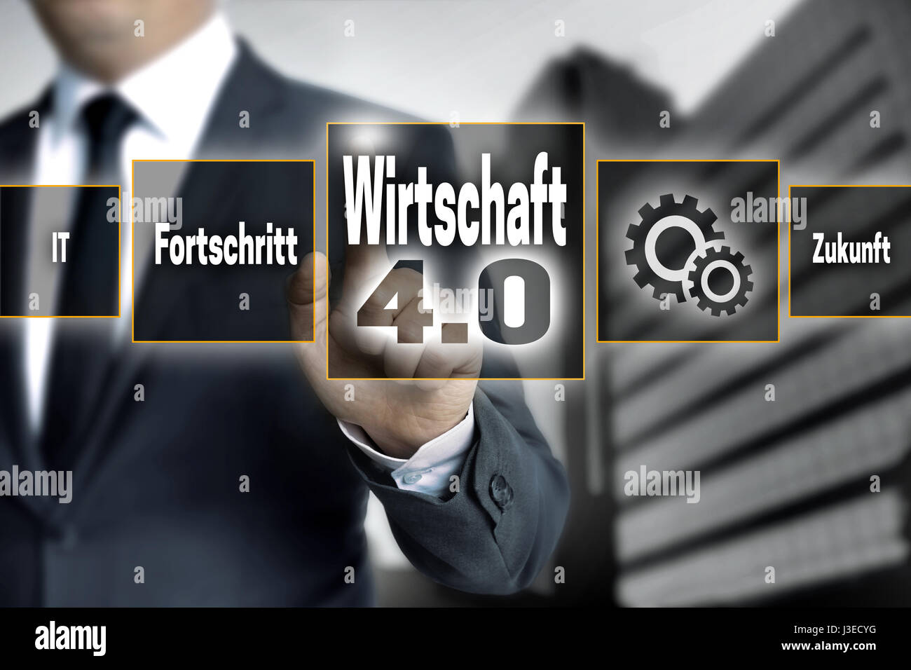 Wirtschaft 4.0 (in german economy) touchscreen is operated by a businessman. - Stock Image