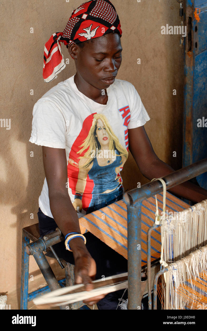 BURKINA FASO, Kaya, aid project of catholic church for forced married women in Boken, textile workshop, vocational - Stock Image