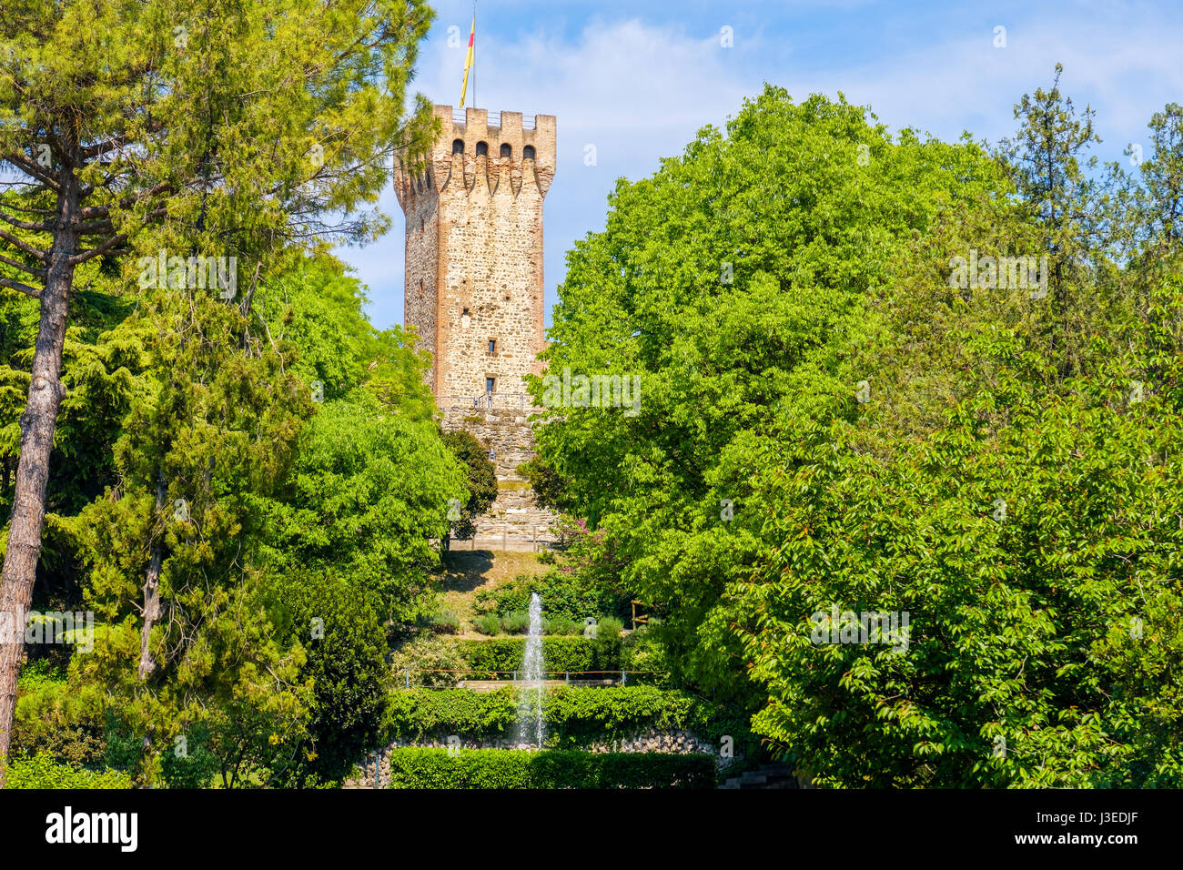 stone tower garden medieval castle fountain - Stock Image