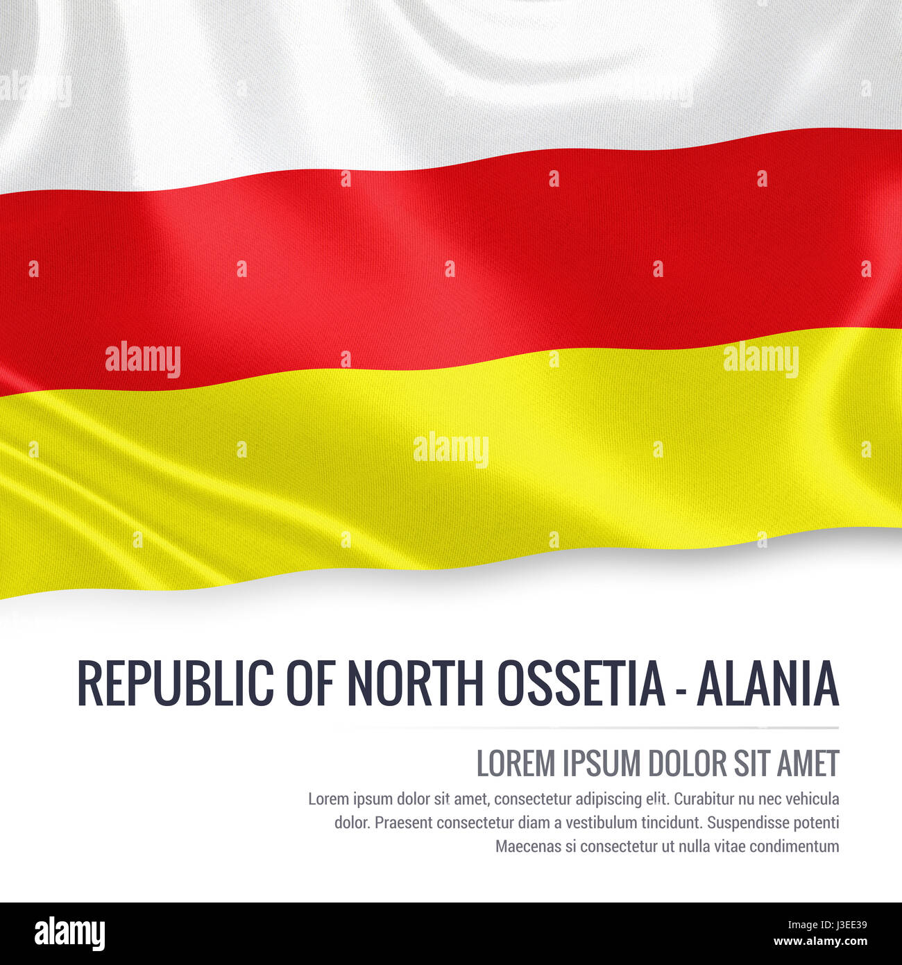 Russian state Republic of North Ossetia-Alania flag waving on an isolated white background. State name and the text - Stock Image
