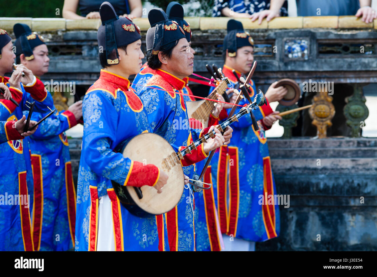 Hoi An, Vietnam - march 10 2017: vietnamese traditional music band is giving concert in Imperial Citadel. Musician Stock Photo