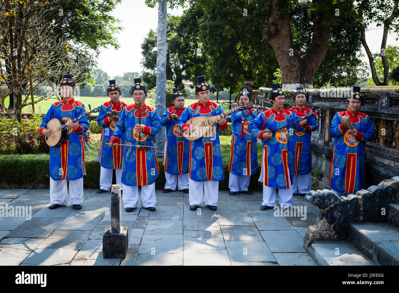 Hoi An, Vietnam - march 10 2017: vietnamese traditional music band is giving concert in Imperial Citadel Stock Photo