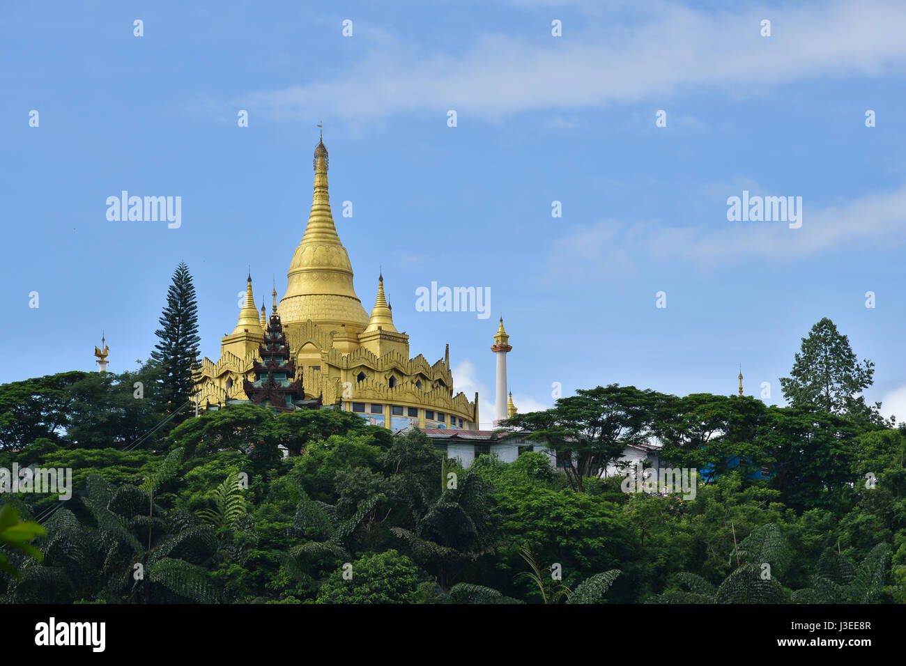 Golden pagoda famous places land mark in mang lah shan state myanmar. Nearly china ishuangbanna, Sibsongbanna,Sipsong - Stock Image