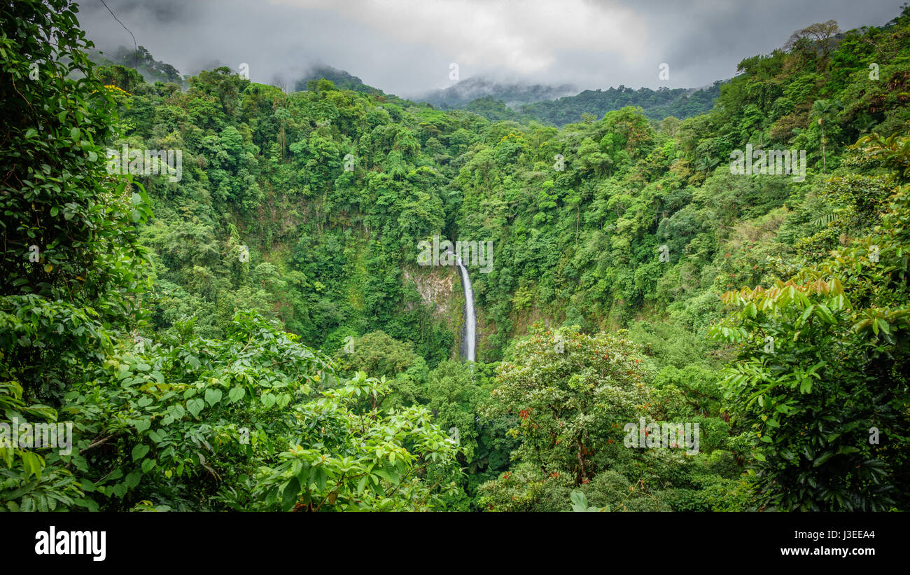 Wide angle view of La Fortuna de San Carlos waterfall in Arenal volcano national park, Costa Rica - Stock Image