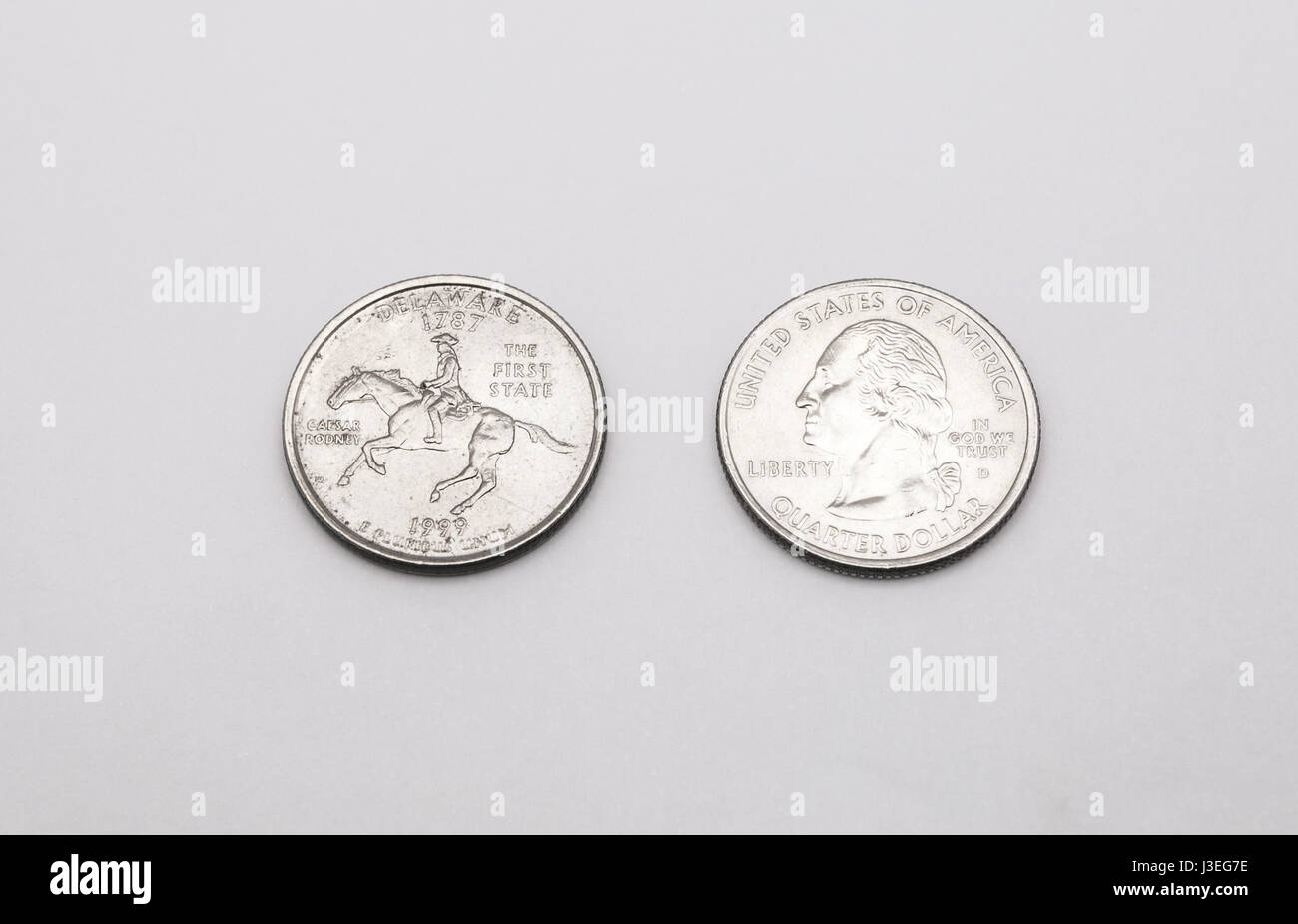 Closeup To Delaware State Symbol On Quarter Dollar Coin On White Background Stock Image